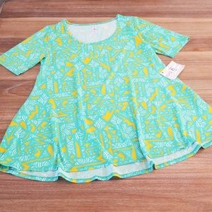 LuLaRoe Teal and Gold Perfect Tee NWTS Size Small